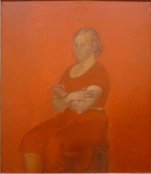 Соломон Никритин. Портрет девушки в красном. 1935
